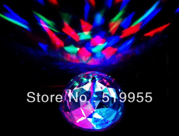 2pcs Free shipping 3W RGB led bulb light, disco lighting Christmas festival party lights rotating E26 E27 B22 85~265v 220v(China (Mainland))