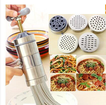 Stainless Steel Manual Noodle Maker Pastas Making Machine Presse Fruits Juicer Including 5 Different Molds(China (Mainland))