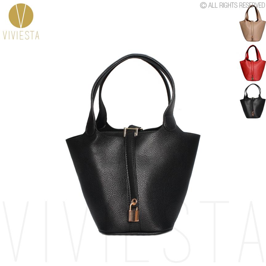 KEY LOCK MINI BUCKET TOTE - Women's Famous Brand Designer Inspired PU Leather Top Handle Basket Shopping Shopper Bag Handbag(China (Mainland))