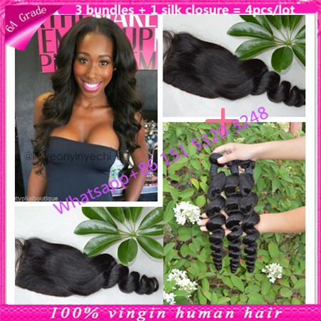 3 part silk base closure with bundles brazilian virginy hair bundles with silk base closure loose wave with silk closure no shed<br><br>Aliexpress