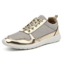 2016 Spring Mesh Breathable Women Casual Shoes Gold Silver Lace up Flat Shoes for Women Eu size 36-41 Femme Trainer