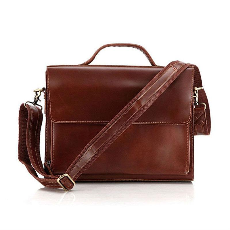 100% Guarantee Genuine Leather Vintage Style Men Briefcase With Shoulder Strap 10<br>