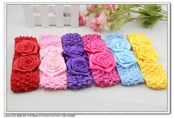 18 pcs per lot 13cm length 5 color kids infant baby crochet fabric rose elastic hairbands & flower headbands Fashion H5035