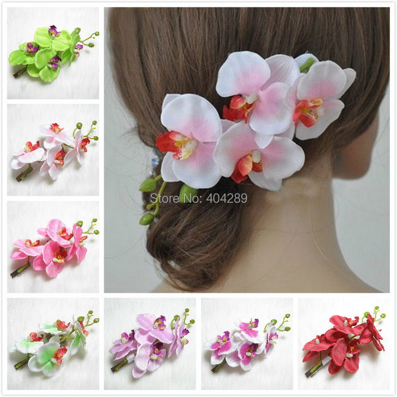 Wholesale 10pcs Mixed Color Orchid Flower Hair Clip,Hawaiian Bridal Wedding Hair Accessories,U pick Color,Free Shipping(China (Mainland))