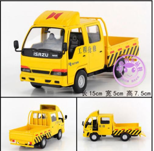 Toy cars1:32 simulation car model light trucks acousto-optic kids toys scale models diecast toy vehicles repair works truck(China (Mainland))