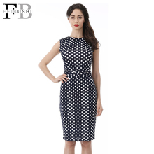 2016 Summer Women Polka Dot Dress Casual Slim Sleeveless Blue Dress Party Wear Plus Size Female Office Dress(China (Mainland))