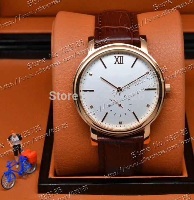 2015 new hot fashion luxury business classic import quartz movement thin small cap running second rose gold case belt Mens Watch(China (Mainland))