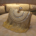 New Women Diamond Wedding bride Shoulder Crossbody Bags Gold Clutch Beaded Tassel Evening Bags Party Purse