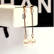 Fashion 2016 Dangle Earring Imitation Pearl 18K Gold Plated Earrings Birthday Gift Jewelry Long Earrings for Women Bijoux
