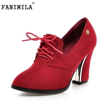 Size 31-48women Pointed Toe High Heel Shoes Fashion Lace-Up Office Lady Woman Square Heeled Pumps Brand Dress - Shop1267192 Store store