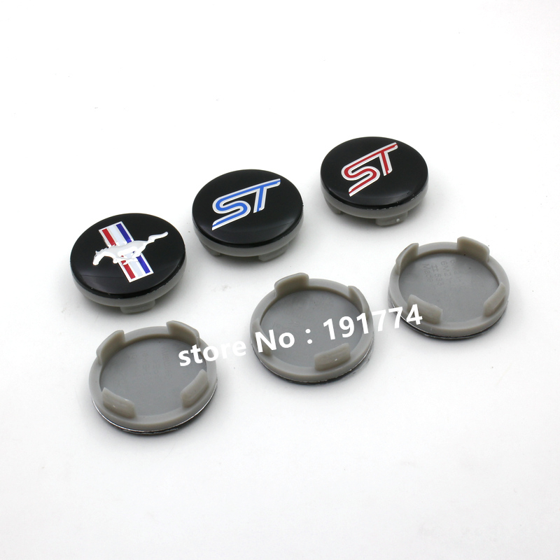 DHL 100pcs 54mm ST/Mustang/OEM Car Wheel Center Caps Emblem Logo Badge For Ford Fiesta Focus Fusion Mondeo Escap 6M211003AA(China (Mainland))