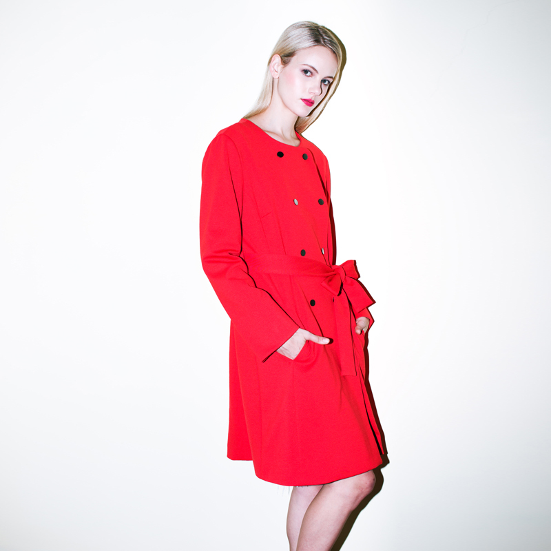 YIGELILA 9300 Latest New Fashion Long With Belt Women Red Slim Coat Trench Free Shipping