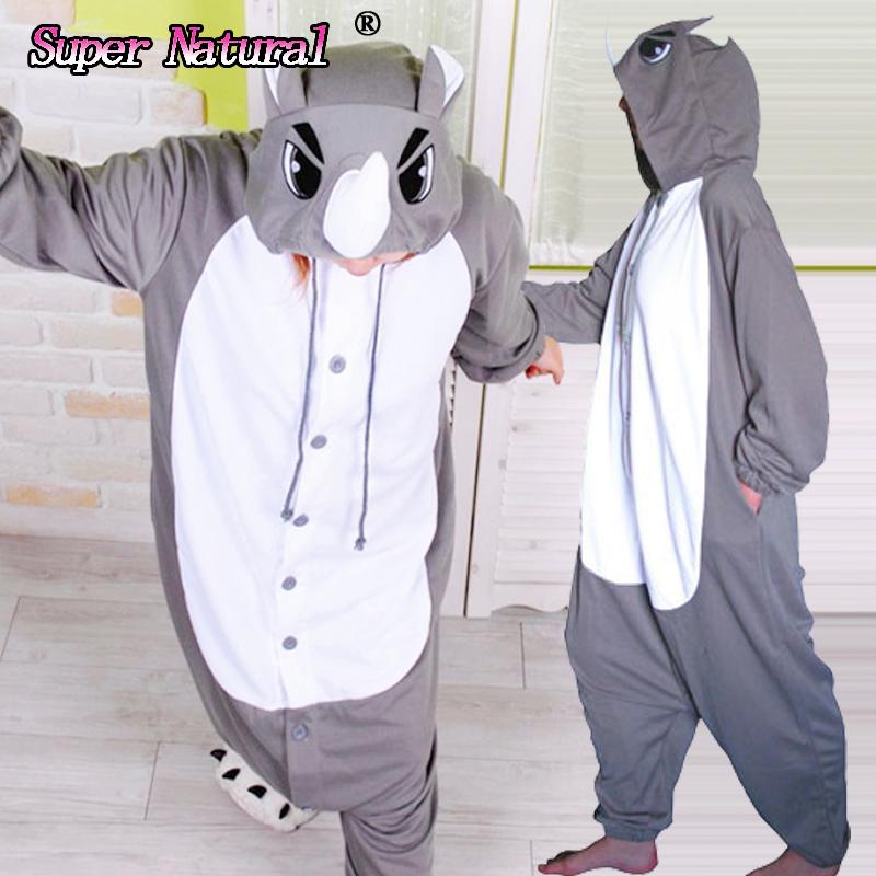 Cheap DHL Fleece High Quality Kigurumis Rhino Onesie Animal Footed Pajamas Cosplay Costumes For Girls and Women Sleepwear(China (Mainland))