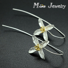 Fashion Plata 925 Silver Drop Earrings Four Leaf Clovers Flower Earrings Jewelry Free Shipping(China (Mainland))