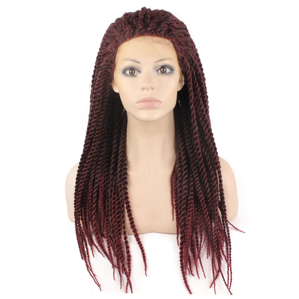 Фотография Hot Sale Synthetic Heat Resistant Micro Braided Wigs African American Hair Braiding Styles Long Burgundy Red Color Wigs