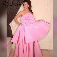 Long Evening Dresses A-line Ballkleider Lang Prom Dresses Pink Avondjurken Vestido De Festa Saudi Lady Party Gowns With Big Bow(China (Mainland))