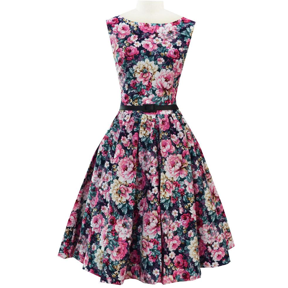 Floral Audrey Hepburn 50s Dress Print Vintage With Belt Skater Dress Robe Sleeveless Plus Size S-XXL vestidos feminino D51116Одежда и ак�е��уары<br><br><br>Aliexpress