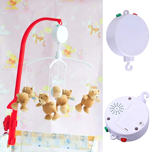 12 Melodies Baby Kids Mobile Windup Crib Bed Bell Electric Autorotation Music Box