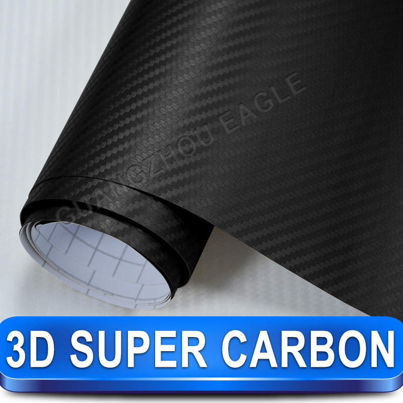 Super 3D Carbon Fiber Black Vinyl Film Car Sticker Wrap with Skin Texture Air Drains High Quality New Arrival(China (Mainland))