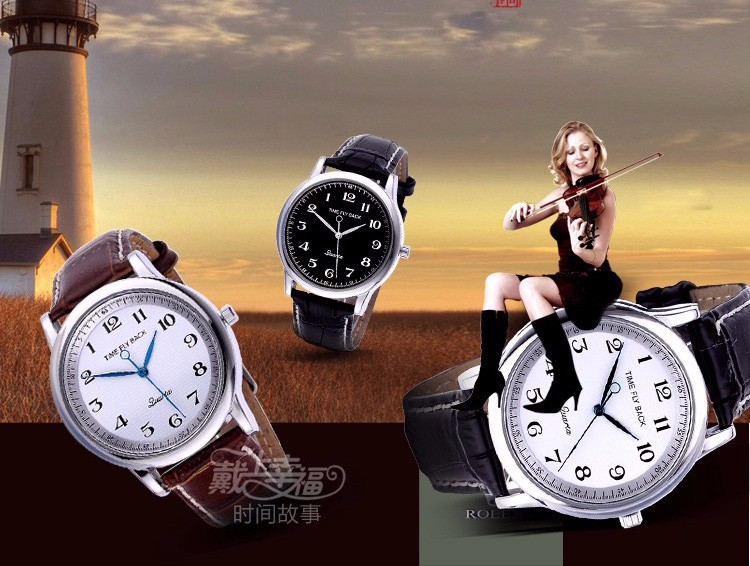 Новая Мода Против Часовой Стрелки Часы Время Лететь Обратно Мужчины Наручные Часы Vintage Кварц Против Часовой Стрелки Часы Кожаный Ремешок