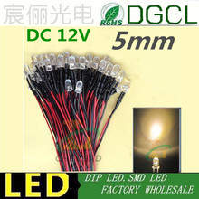 100pcs 12V/24V Pre wired 5mm Bright LEDs Bulb Warm white/Red/Green/Blue/Yellow/White/Pink 20cm Prewired LED Lamp LED LIGHTING(China (Mainland))