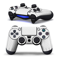 Hot White Carbon Fiber Sticker Decal Skin Cover For Sony FOR PS4 Playstation 4 Dualshock Controller
