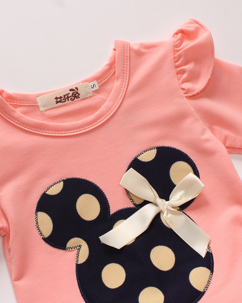 2Pcs Baby Kid Girls Minnie Mouse Long Sleeve Dot Tops+Pants Clothes Set Outfits
