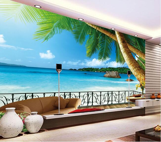 Murales playa para paredes compra lotes baratos de for Murales decorativos paisajes