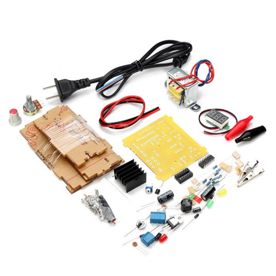Diy Lm317 Adjustable Voltage Power Supply Board Learning Kit With Case Integrated Circuits Amplifier