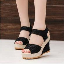 Fashion! Women Shoes 2015 Summer New Open Toe Fish Head Fashion High Heels Wedge Sandals female shoes women platform shoes(China (Mainland))