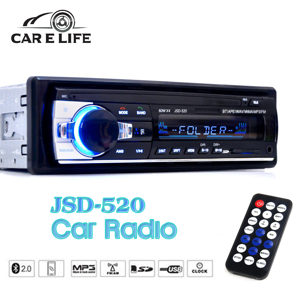 JSD-520 Bluetooth V2.0 Car Radio Stereo Audio MP3 Player 12V In-dash Single 1 Din FM Receiver Aux Receiver USB SD Remote Control(China (Mainland))