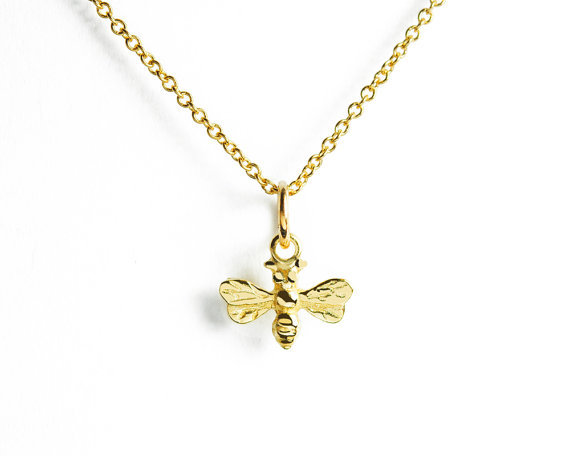 18K Gold and Silver and Rose Gold Honey Bee pendant Necklace --12pcs/lot ( 3 Colors Free Collocation )(China (Mainland))