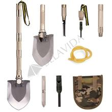 Multi-function Folding Shovel Axe Hoe Hammer Knife Fire Flint Whistle Camping