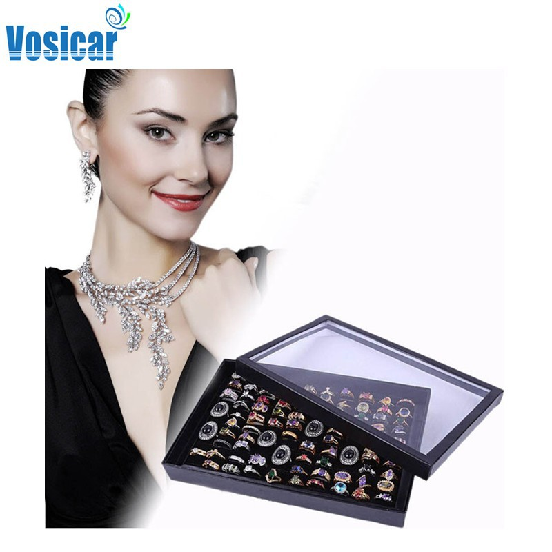Vosicar 100 Slot Rings Jewelry Display Tray Velvet Case Box Jewelry Storage Box 2015 Hot Sale(China (Mainland))