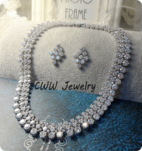 Super Luxury 2015 Nigerian Wedding Accessories African CZ Diamond Beads Jewelry Sets Crystal Bridal Necklace For Brides (T111)(China (Mainland))