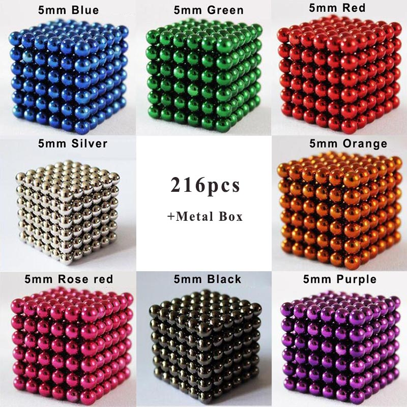 216pcs/set 5mm Multicolor Neodymium Magnetic Balls Puzzle Magic Cube Magnets Beads China Funny Creative Magnet Toy For Children(China (Mainland))