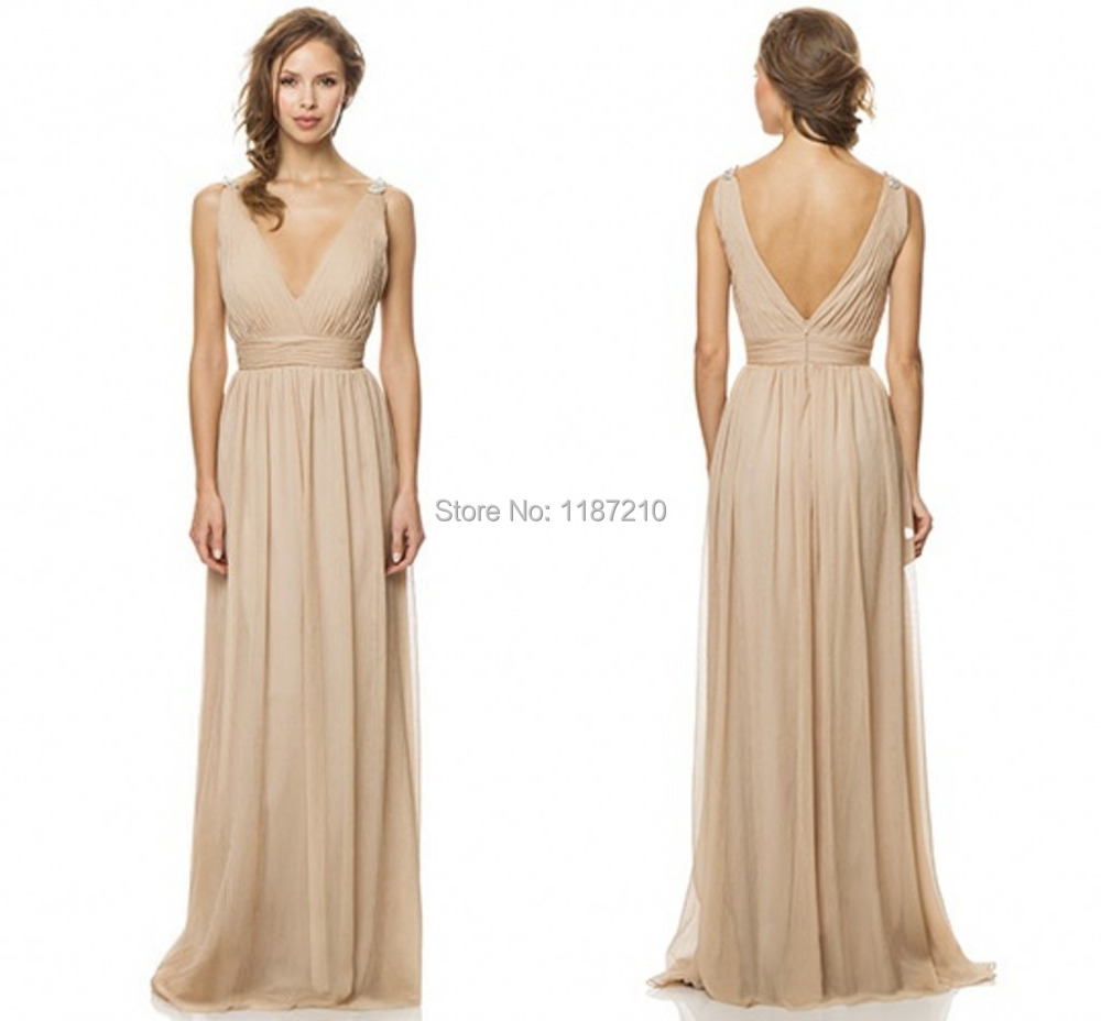 Champagne bridesmaid dresses under 100 deep v neck beaded for Wedding dress for less than 100