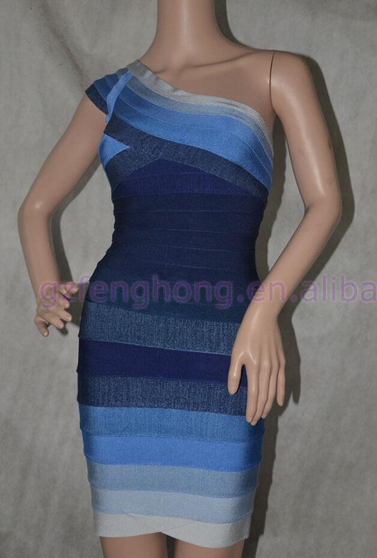 Best quality one shoulder bodycon bandage dress sleeveless prom dress alibaba express dress(China (Mainland))