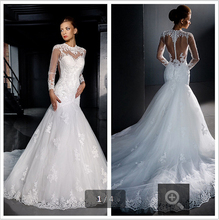 2015 mermaid women dress high neck long sleeve bridal gowns sheer back appliques lace real picture bridal gowns(China (Mainland))