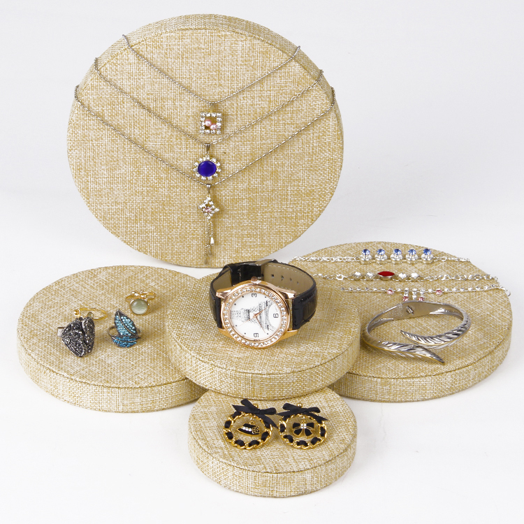 1set/lot Wholesale Linen Jewelry Set Display Stand Holder With 5pcs Disk For Necklace Bracelet Watch Earring Ring Display(China (Mainland))