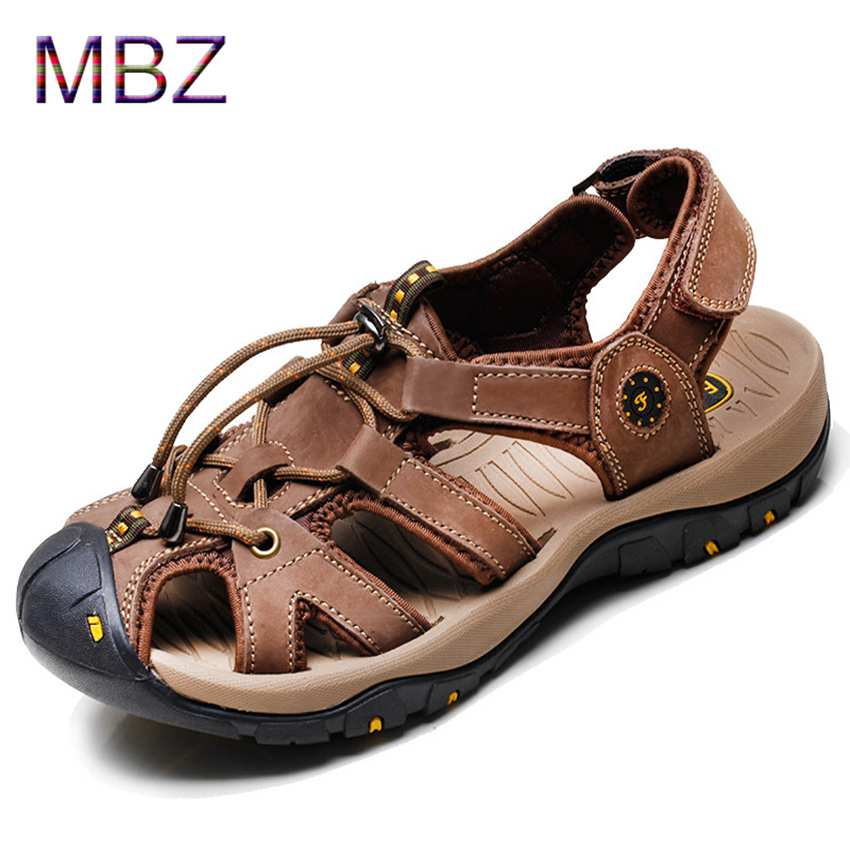 MBZ Mens Leather Outdoor Sport Sandals Men Breathable Summer slippers Camouflage new waking Beach shoe leather high quality 568(China (Mainland))