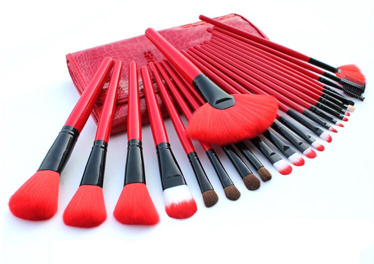 2014 hot selling ! China Red Professional 24pcs Makeup brush set Comsetic Powder Eyeshadow brush(China (Mainland))