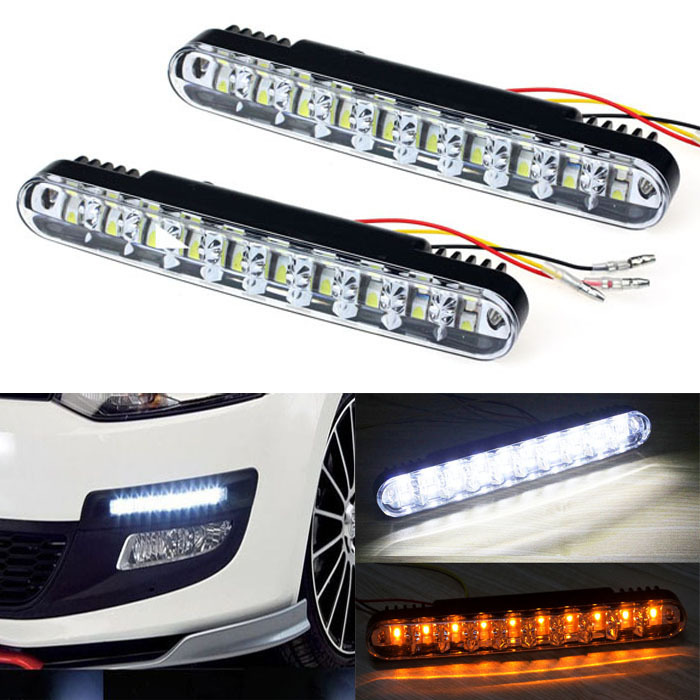 Scolour 2x 30 LED Car Daytime Running Light DRL Daylight Lamp with Turn Lights Freeshipping(China (Mainland))