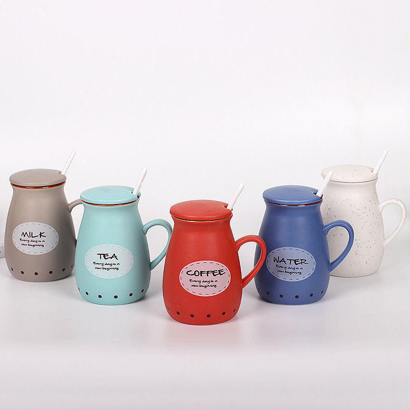 Milk Cup with lid spoon Tatu Cute Mug coffee Mug Creative couple Cup Retro glaze ceramic Cup Free Shipping(China (Mainland))