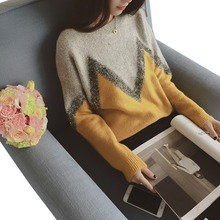 2015 Women Winter Sweaters Christmas Burderry Women Jumpers Geomertric Knitted Jumpers Pullover Korean Yellow pullover Blousas(China (Mainland))