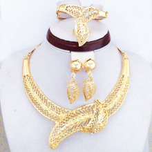 Good Quality Luxury Big Leaf Gold Plated Jewelry Sets African Fashion Women Party Big Gold Jewelry Set