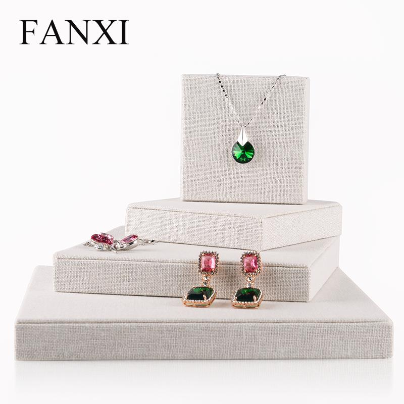 lot of 4 FANXI High Quality Linen Jewelry Display Holder Necklace Display Stand Beige Jewelry Display Board Flat <br><br>Aliexpress