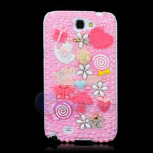 New Pink Diamond Flower Style Butterfly Pearl Case Cover For SAMSUNG GALAXY NOTE II NOTE 2 N7100 Cartoon Jewelry Free Shipping()