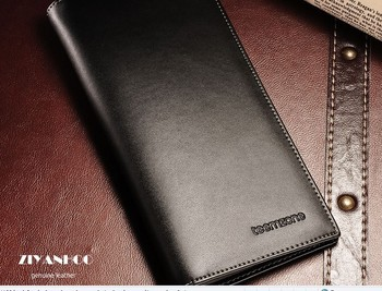 Free shipping + Wholesale 2013 guaranteed  men's genuine cowhide leather long style  black/ browm wallet ,No:WA1304003