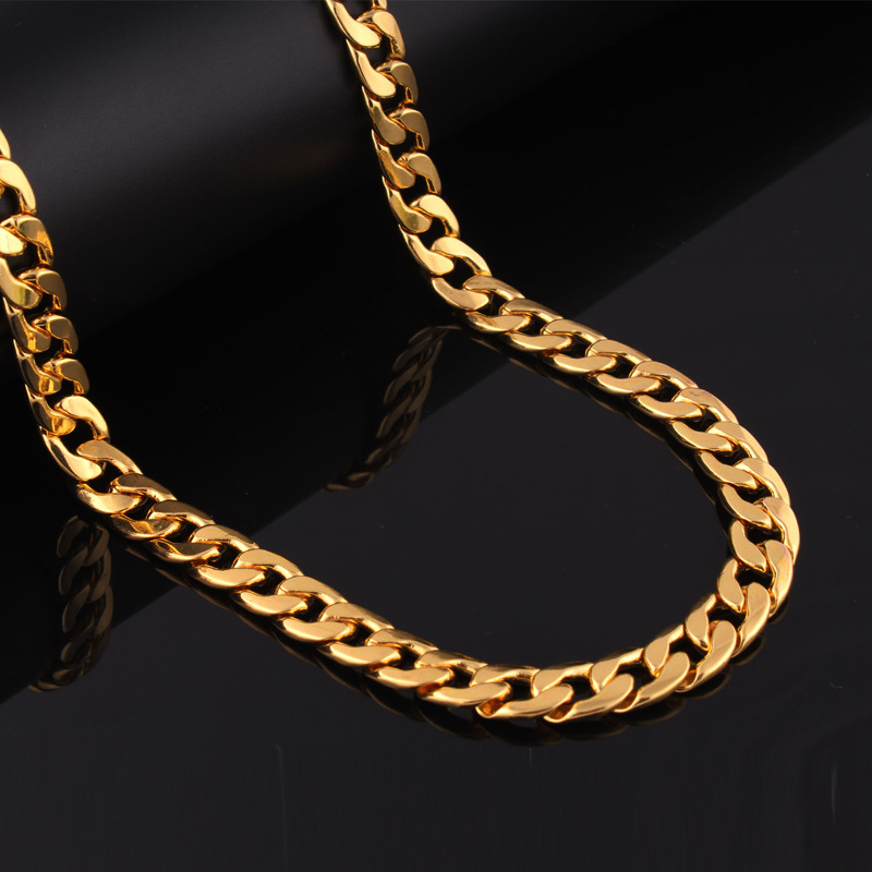 high quality 18 k real gold plated Hip Hop men's Punk style Rap Round 60CM Chain Pendant Necklace men Rock Rap Necklace Jewelry(China (Mainland))